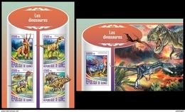 GUINEA 2017 - Dinosaurs. M/S + S/S. Official Issue - Préhistoriques