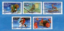 Francia ° - 2007 - MEILLEURS VOEUX -.Yvert  4120 à 4124.   Oblitéré.   Vedi Descrizione. - Usados