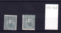 1887     Léopold II,   13A* + 13B, Cote 150 €, - 1884-1894 Précurseurs & Leopold II