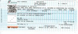 Italy , Pisa - Milano , Railway  Ticket  , Trenitalia ,  2017 , Used - Railway