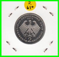 ALEMANIA - GERMANY  MONEDA DE 2.00 DM. AÑO 1975-G CALIDAD PROOF S/C  KONRAD ADENAUER - [ 7] 1949-… : RFA - Rep. Fed. Alemana
