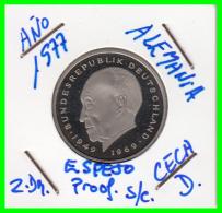 ALEMANIA - GERMANY  MONEDA DE 2.00 DM. AÑO 1977-D  CALIDAD  PROOF S/C  KONRAD ADENAUER - [ 7] 1949-… : RFA - Rep. Fed. Alemana