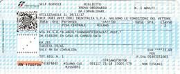 Italy ,  Pisa Centrale - Milano , Railway  Ticket  , Trenitalia ,  2017 , Used - Spoorwegen