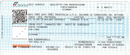 Italy , Milano Centrale - Firenze , Railway  Ticket  , Trenitalia ,  2017 , Used - Spoorwegen
