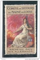 France WWI Marne & Loire Anti-German Propaganda Cinderella Stamp - Commemorative Labels