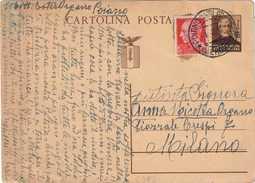 INTERO POSTALE TIPO GIUSEPPE MAZZINI C. 30 + C. 20 IMPERIALE - 1944 - DA POIANO DI VALPANTENA A MILANO - FIALGRANO C112 - 4. 1944-45 Repubblica Sociale