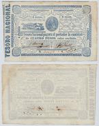PARAGUAY - 4 PESOS BLUE NOTE W/ OXEN & PLOUGH - 1865 XF - Paraguay