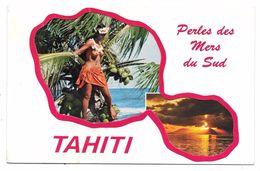 TAHITI - Perles Des Mers Du Sud - Carte De Voeux (double) - Belle Fille Aux Seins Nus - Polynésie Française