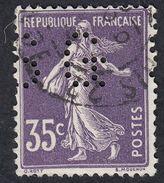 FRANCE Francia Frankreich - 1907 - Yvert 142 Usato, Perfin, Semeuse, 35 Cent. - France