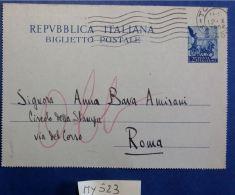 BIGLIETTO POSTALE ITALIA VIAGGIATO QUADRIGA L.25 - 1952 (MY523 - Interi Postali