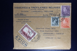 Belgium Airmail Cover Brussels To Montevideo Uruguay 1939 OBP 434 + 435 - Covers & Documents