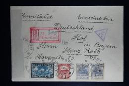 Estland Registered Cover Pärnu To Hof Deutschland Censor Cancels And Strip 1920 Mixed Stamps - Estland