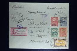 Estland Registered Cover Pärnu To Hof Deutschland Censor Cancels  1921 Mixed Stamps - Estland