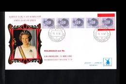 1982 - Netherlands FDC W50T5 - Famous People - Royalty - Queen Beatrix 70c Coilstamp (5 Strip) [VZ005_19] - FDC
