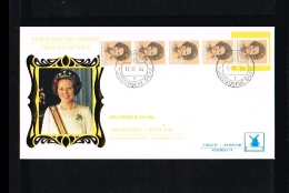 1986 - Netherlands FDC W62T5 - Famous People - Royalty - Queen Beatrix 75c Coilstamp (5 Strip) [VZ005_25] - FDC