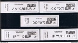 5 ATMs, BROTHER, CC 0.71/ DD 0.73/ AA 0.85/ IP 1.10/ IP 130€. NOUVEAU PAPIER AVEC CODE DATAMATRIX ET PREFIXES - 2010-... Vignettes Illustrées
