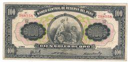 Peru 100 Soles, 1954, VF. - Pérou