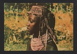Postcard 1960years ANGOLA AFRICA ETHNIC BLACK WOMAN Hairstyle  Hair AFRICA Z1 - Angola