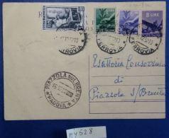 INTERO POSTALE ITALIA VIAGGIATO 1952 L.8+6+1+5 ITALIA AL LAVORO (MY528 - Interi Postali