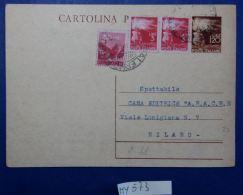 INTERO POSTALE ITALIA VIAGGIATO L.1,20+3+3+0,80 FINE ANNI 40 (MY573 - Postwaardestukken