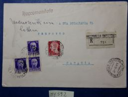 RACCOMANDATA 1941 AFFRANCATA 3X0,5+0,20 CENT. (MY592 - 1900-44 Vittorio Emanuele III