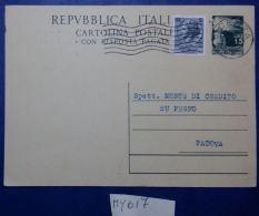 INTERO POSTALE ANNI 50 L.15+5 TIMBRO VICENZA (MY617 - 6. 1946-.. Republik
