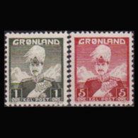 GREENLAND 1947 - Scott# 1A-2A King Type II Set Of 2 LH - Groenlandia