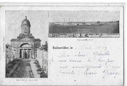 BADONVILLER  2 VUES  FAIENCERIE  ET EGLISE  VOYAGEE 1899    DEPT 54 - Autres Communes