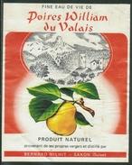 Rare // Etiquette// Eau De Vie Poires William, Bernard Milhit Saxon, Valais, Suisse - Fruit En Groenten