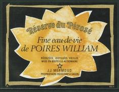 Rare // Etiquette// Fine Eau De Vie Poires William, J.J. Mermoud, Saxon, Valais, Suisse - Fruit En Groenten