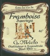 Rare // Etiquette//  Eau De Vie De Framboise Sauvage,G.Miclo, Lapoutroie, France - Fruits & Vegetables