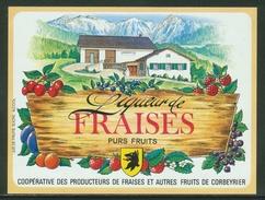 Rare // Etiquette // Liqueur De Fraises,Coopérative Des Producteurs, Corbeyrier,Vaud, Suisse - Fruit En Groenten