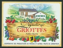 Rare // Etiquette // Liqueur De Griottes,Coopérative Des Producteurs, Corbeyrier,Vaud, Suisse - Fruit En Groenten