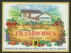 Rare // Etiquette // Liqueur De Framboises,Coopérative Des Producteurs, Corbeyrier,Vaud, Suisse - Fruit En Groenten