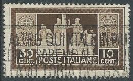 1929 REGNO USATO MONTECASSINO 50 CENT - S264-5 - Afgestempeld