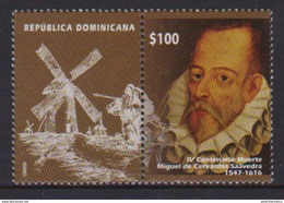 DOMINICAN REPUBLIC, 2017, MNH, CERVANTES, DON QUIXOTE, WINDMILLS, 1v+TAB - Ecrivains