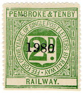 (I.B) Pembroke & Tenby Railway : Letter Stamp 2d - 1840-1901 (Victoria)