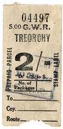 (I.B) Great Western Railway : Prepaid Parcel 2/- (Treorchy) - 1840-1901 (Victoria)
