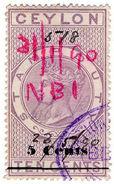 (I.B) Ceylon Revenue : Stamp Duty 5c On 10c OP - Ceylon (...-1947)