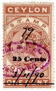 (I.B) Ceylon Revenue : Stamp Duty 25c On 1c OP - Ceylon (...-1947)