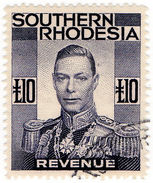 (I.B) Southern Rhodesia Revenue : Duty Stamp £10 - Great Britain (former Colonies & Protectorates)