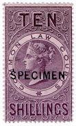 (I.B) QV Revenue : Common Law Courts 10/- (specimen) - 1840-1901 (Victoria)