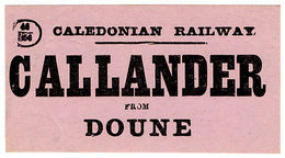 (I.B) Caledonian Railway : Parcel Label (Callander To Doune) - 1840-1901 (Victoria)