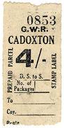 (I.B) Great Western Railway : Prepaid Parcel 4/- (Cadoxton) - 1840-1901 (Victoria)