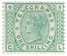 (I.B) QV Telegraphs : 1/- Green (plate 9) - 1840-1901 (Victoria)