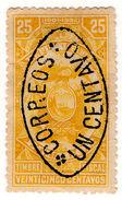 (I.B) Ecuador Revenue : 25c Yellow With 1c Postal OP - Ecuador