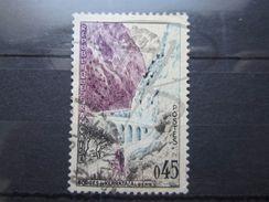 VEND TIMBRE DE FRANCE N° 1237 , ROCHER DROIT + PONT + ROUTE BLEUS CLAIRS !!! - Variétés: 1960-69 Oblitérés