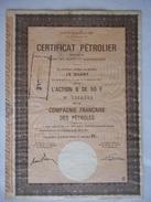 Certificat Petrolier FRANCAISE Des PETROLES TOTAL - Pétrole