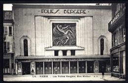 CPA ANCIENNE FRANCE- PARIS (75)- CABARETS- FOLIES-BERGERES- FACADE GROS PLAN STYLE ART DÉCO- ANIMATION- COMMERCE - Pubs, Hotels, Restaurants