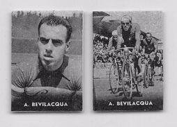 """34 """"ANTONIO BEVILACQUA 1918 - 1972 CICLISTA """" COPPIA DI FIGURINE ORIGINALI """"NANNINA"""" 1952 - Ciclismo"""